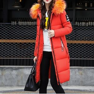 Coat with Fur Hood Long Puffer Jacket Outdoor